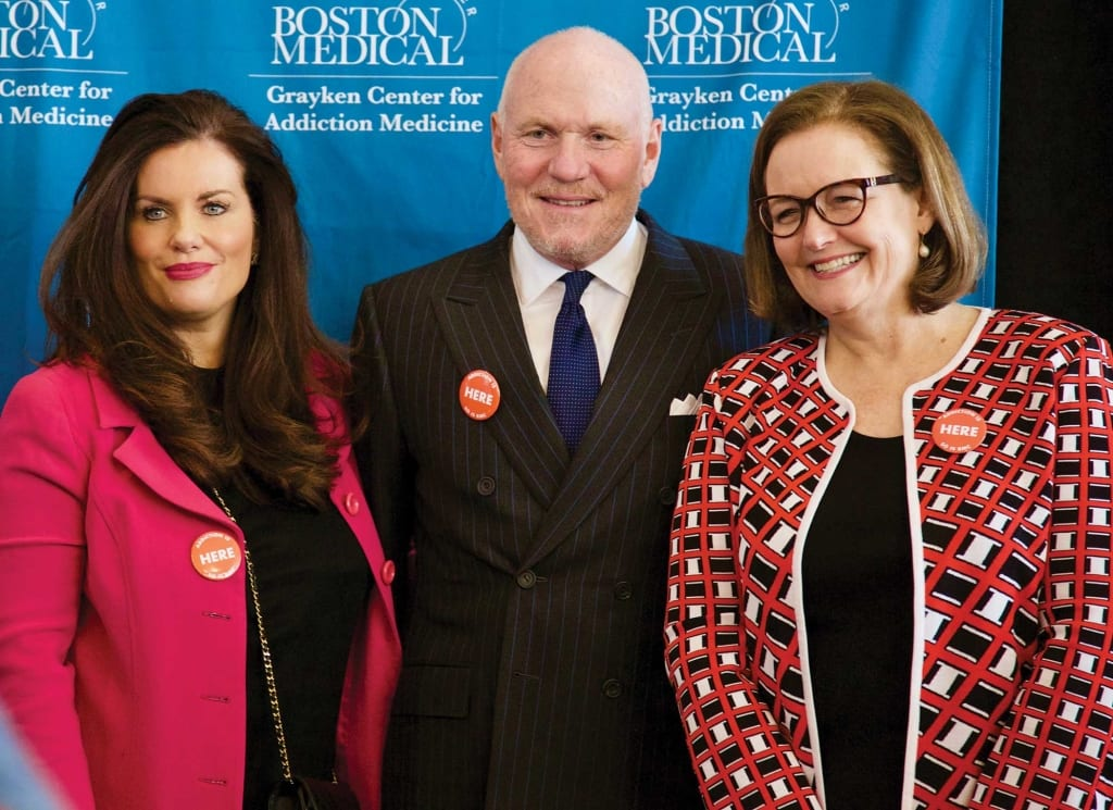 John Grayken and his wife, Eilene, donated $25 million for an addiction center at Boston Medical Center. At right is Kate Walsh, the BMC's CEO.